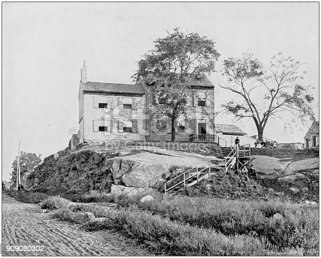 Antique photograph of World's famous sites: Edgar Allan Poe House, Long Island
