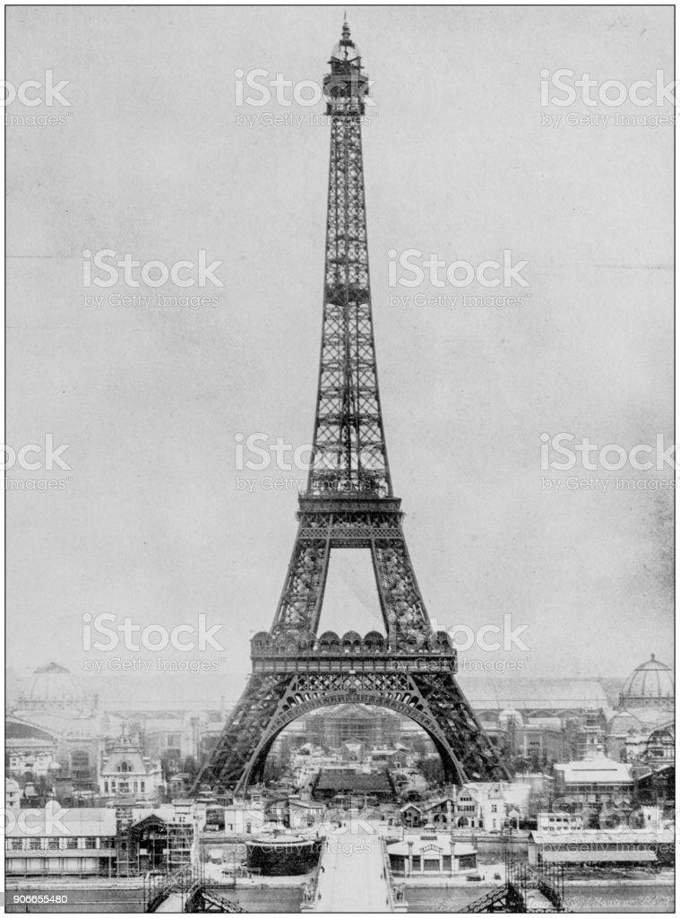 Antique photograph of World's famous sites: Eiffel Tower, Paris, France stock photo
