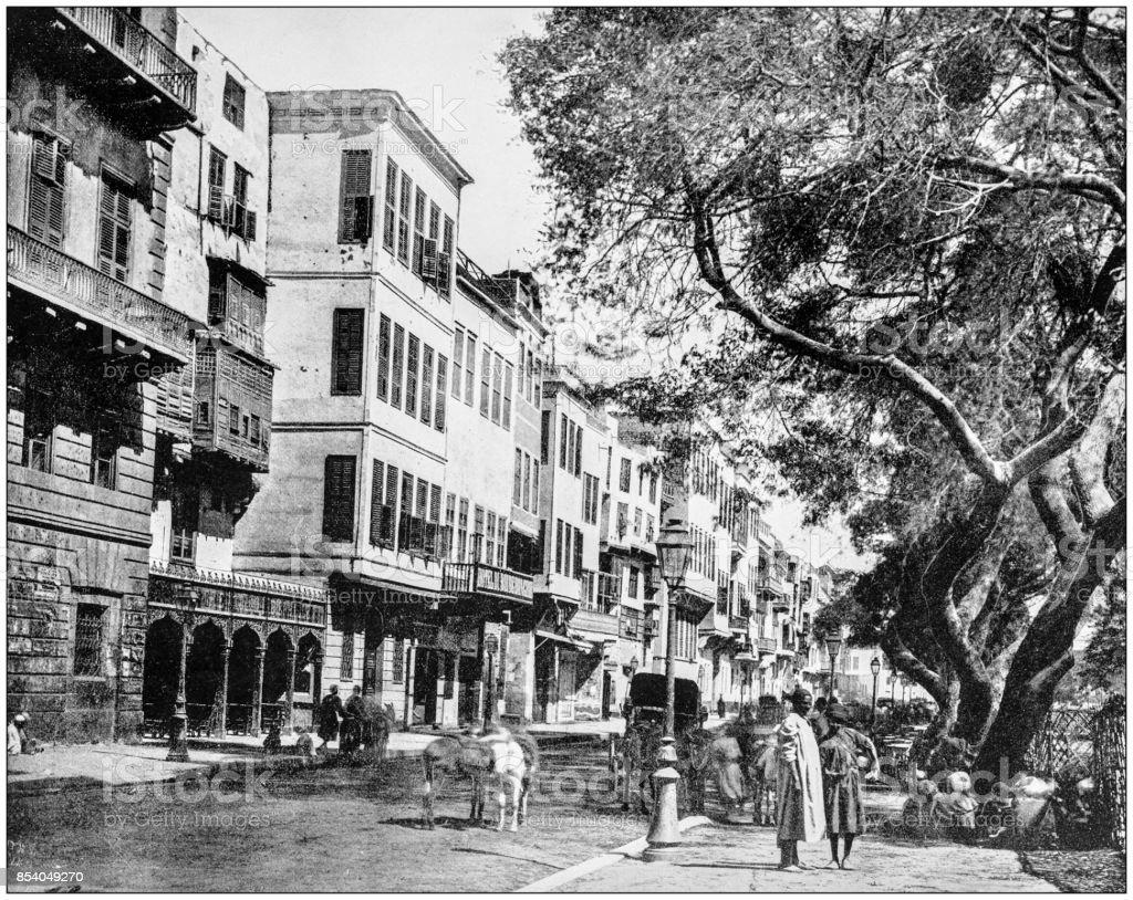 Antique photograph of World's famous sites: Ezbekiyeh, Cairo, Egypt stock photo