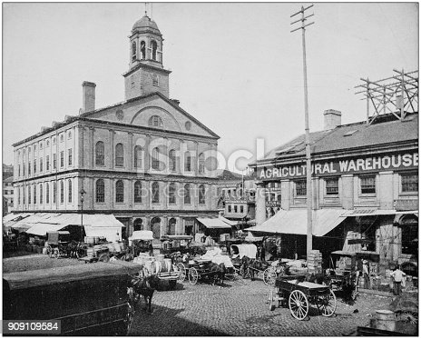 Antique photograph of World's famous sites: Faneuil Hall, Boston