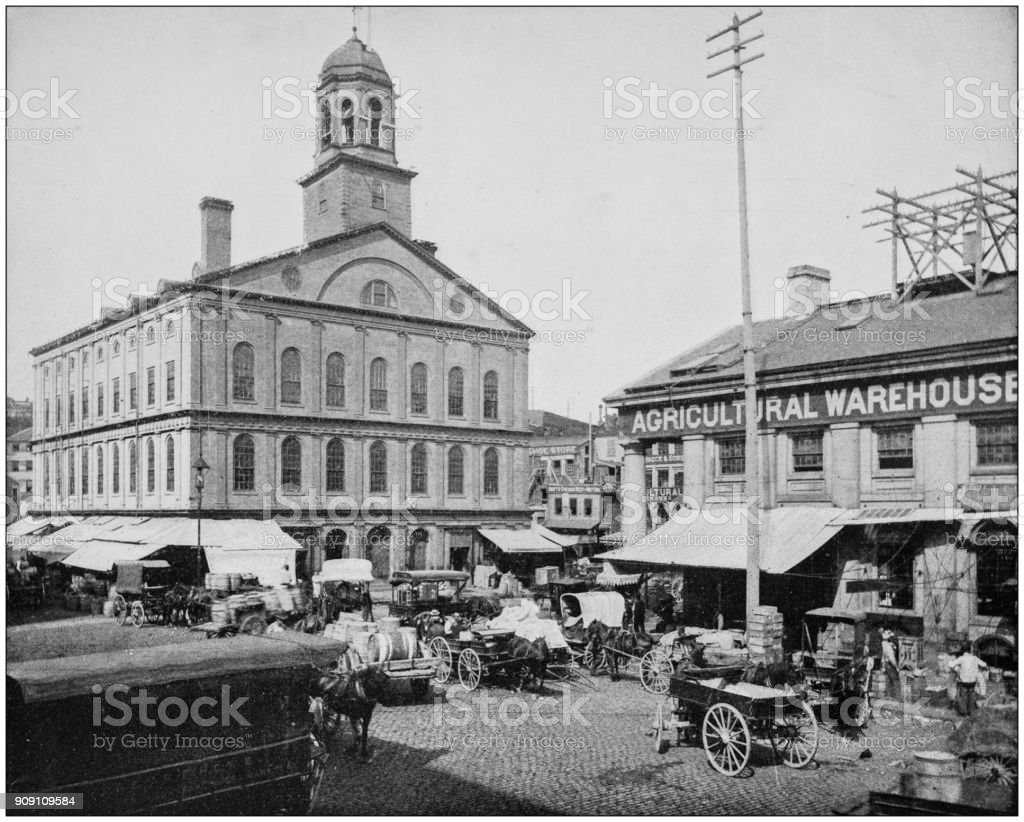 Antique photograph of World's famous sites: Faneuil Hall, Boston stock photo