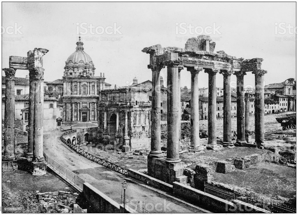 Antique photograph of World's famous sites: Forum, Rome, Italy stock photo