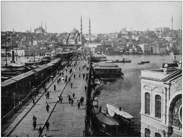 Antique photograph of World's famous sites: Galata Bridge, Istanbul, Turkey Antique photograph of World's famous sites: Galata Bridge, Istanbul, Turkey 1890 stock pictures, royalty-free photos & images