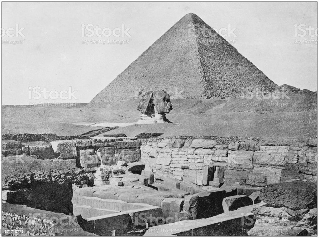 Antique photograph of World's famous sites: Giza stock photo