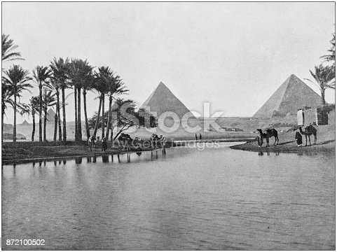 Antique photograph of World's famous sites: Giza