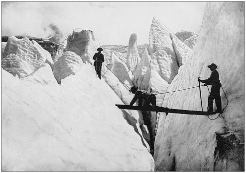 Antique photograph of World's famous sites: Glacier des Boissons, Mont Blanc