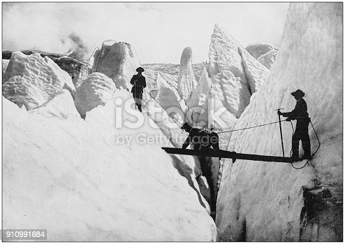 Antique photograph of World's famous sites: Glacier des Boissons, Mont Blanc