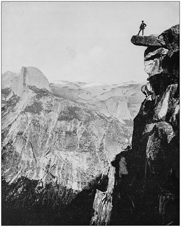 Antique photograph of World's famous sites: Glacier Point, Yosemite Valley, California