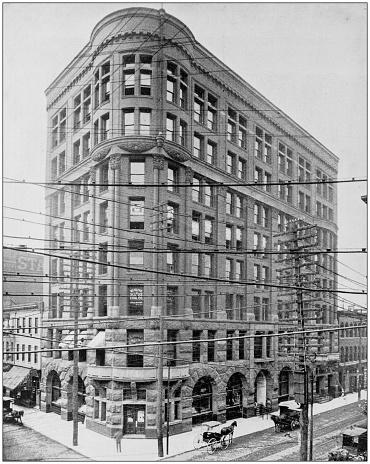 Antique photograph of World's famous sites: Globe Democrat Building, St Louis, Missouri