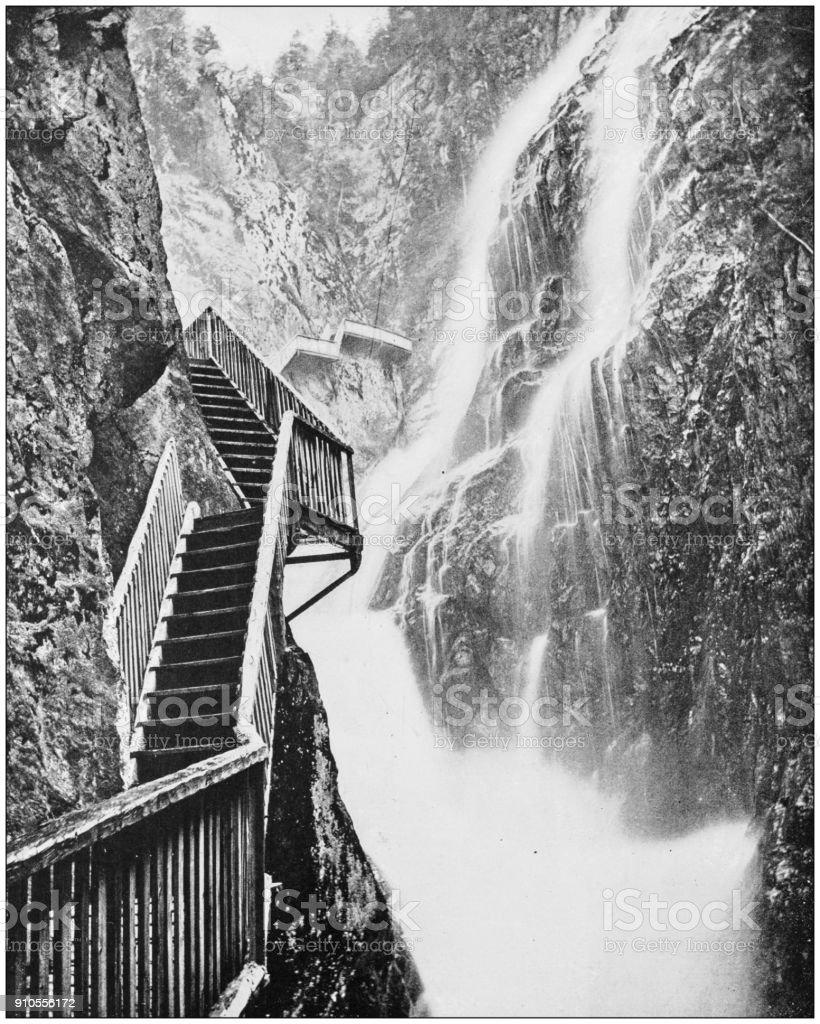 Antique photograph of World's famous sites: Gorges du Durnant, Switzerland stock photo