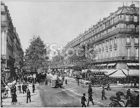 Antique photograph of World's famous sites: Great Boulevards, Paris, France