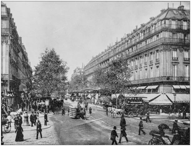 Antique photograph of World's famous sites: Great Boulevards, Paris, France Antique photograph of World's famous sites: Great Boulevards, Paris, France 1900 stock pictures, royalty-free photos & images
