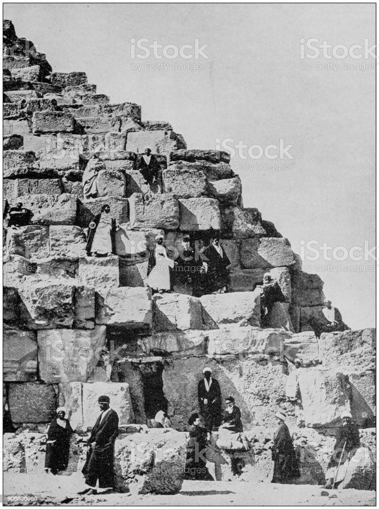 Antique photograph of World's famous sites: Great Pyramid, Egypt stock photo