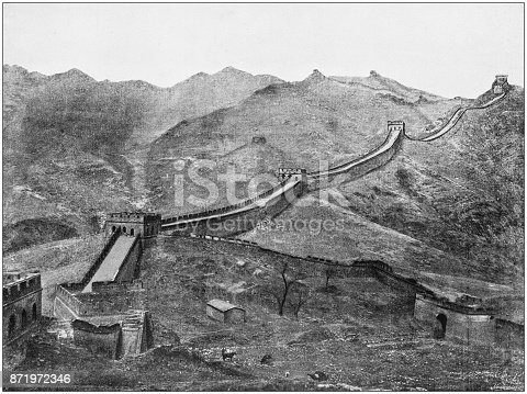 Antique photograph of World's famous sites: Great wall