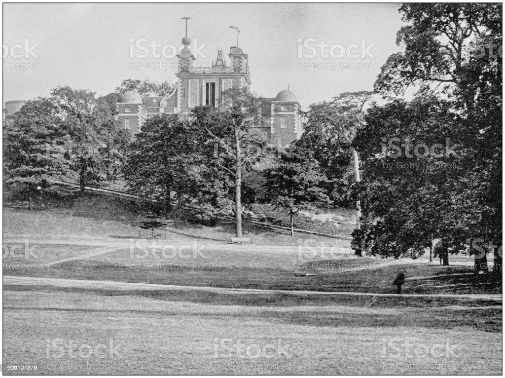 Antique photograph of World's famous sites: Greenwich Observatory, Greenwich, England stock photo