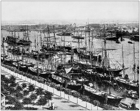 Antique photograph of World's famous sites: Harbour of Hamburg, Germany