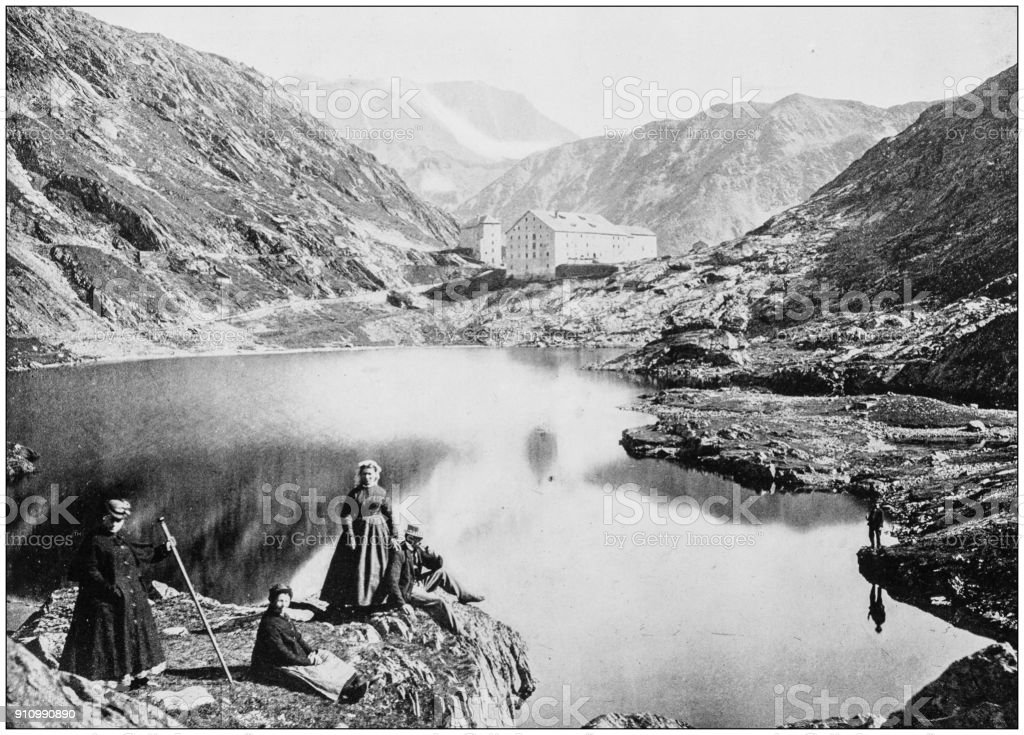 Antique photograph of World's famous sites: Hospice of St Bernard, Switzerland stock photo