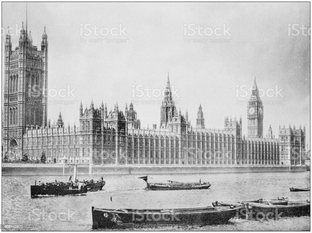 Antique photograph of World's famous sites: House of Parliament, London, England stock photo