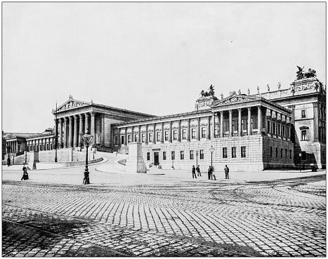 Antique photograph of World's famous sites: House of Parliament, Vienna, Austria