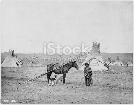 Antique photograph of World's famous sites: Indian pony and camp, Alberta, Canada