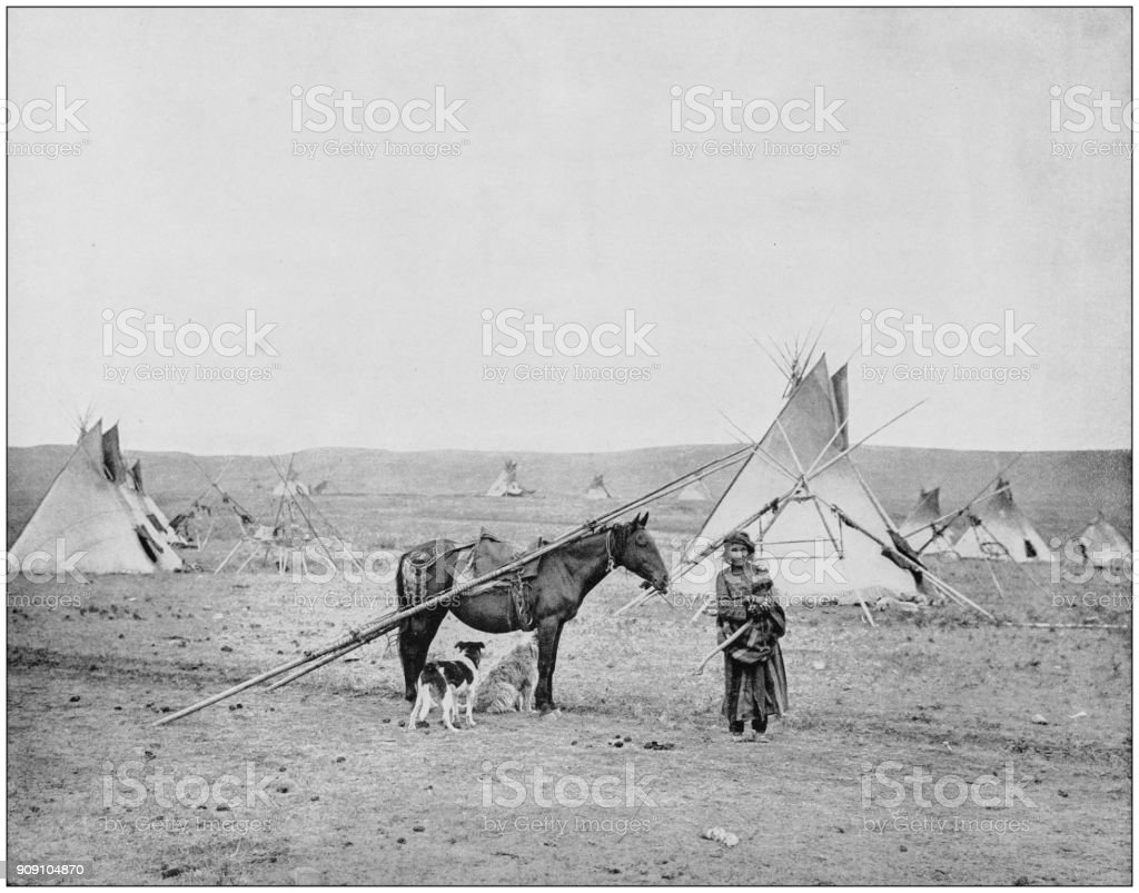 Antique photograph of World's famous sites: Indian pony and camp, Alberta, Canada stock photo