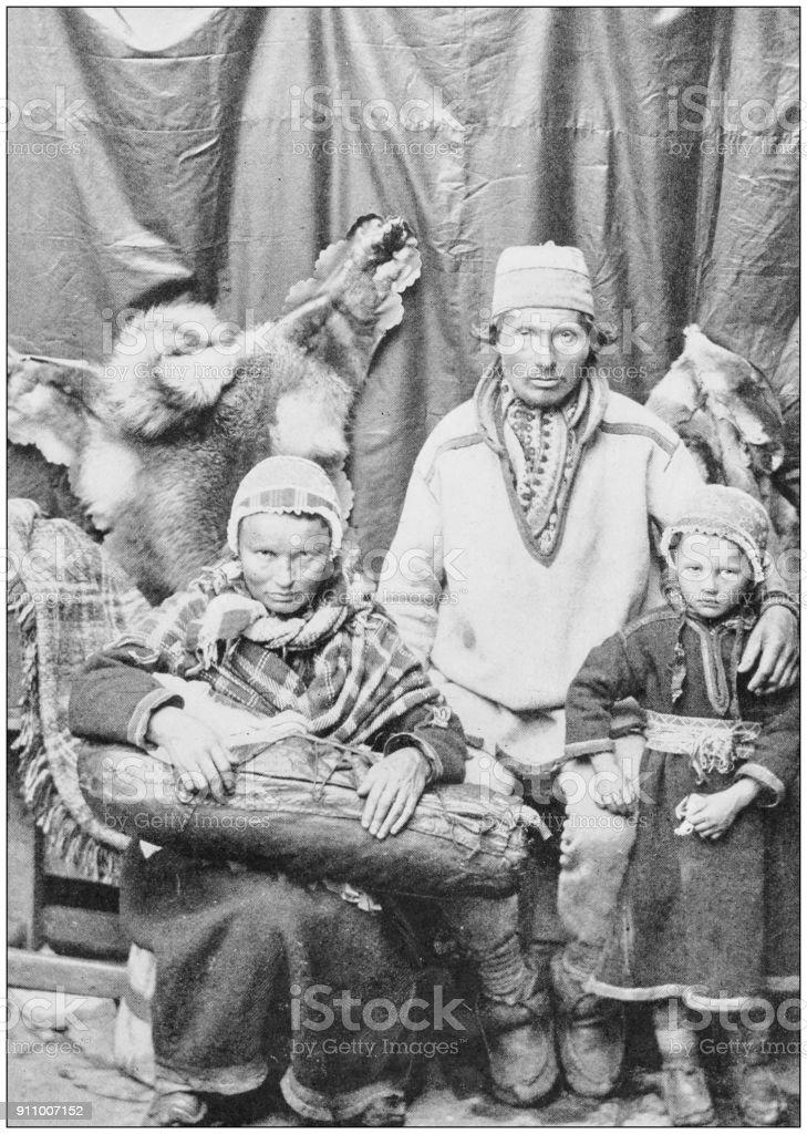 Antique photograph of World's famous sites: Lapland family stock photo