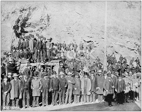 Antique photograph of World's famous sites: Last Deadwood Coach, South Dakota