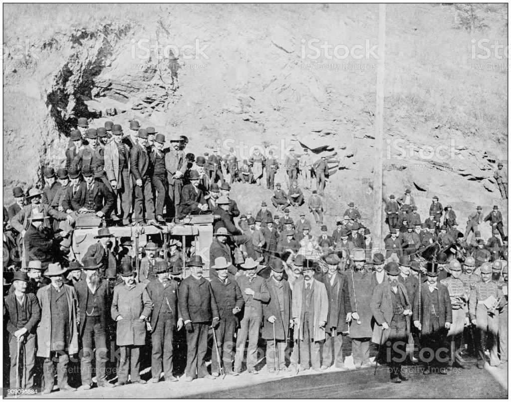 Antique photograph of World's famous sites: Last Deadwood Coach, South Dakota stock photo