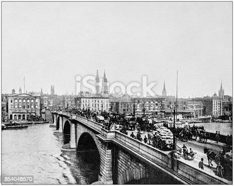 Antique photograph of World's famous sites: London Bridge, London, England, UK
