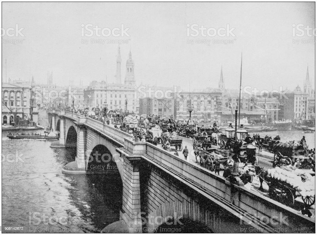 Antique photograph of World's famous sites: London Bridge, London, England, Uk stock photo