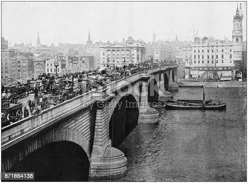 Antique photograph of World's famous sites: London Bridge