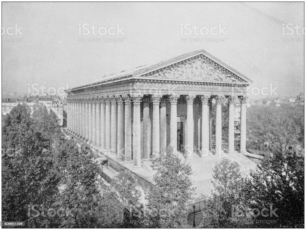 Antique photograph of World's famous sites: Madeleine, Paris, France stock photo