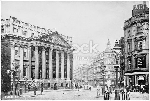 Antique photograph of World's famous sites: Mansion house and Queen Victoria Street, London, England