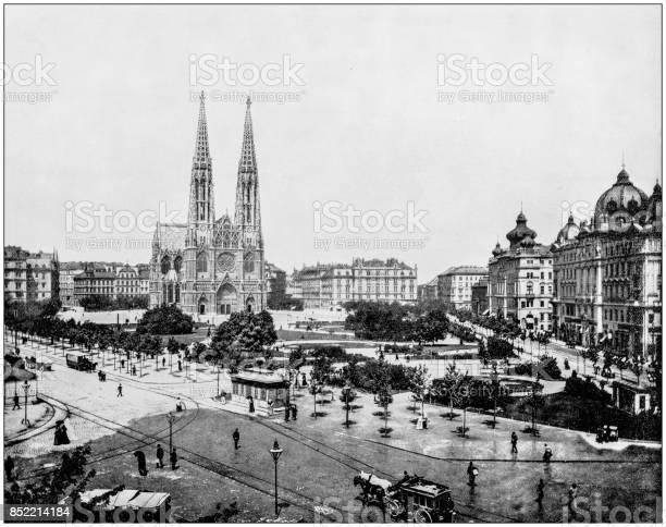 Antique photograph of World's famous sites: Maximilian Platz, Vienna, Austria