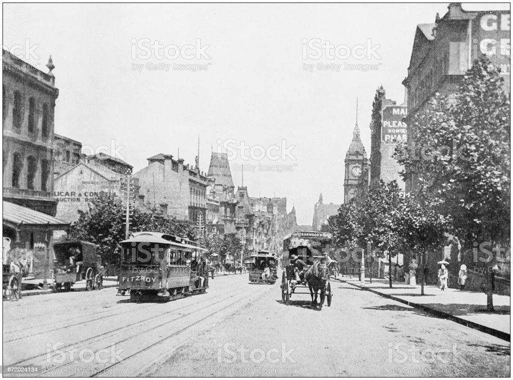 Antique photograph of World's famous sites: Melbourne stock photo