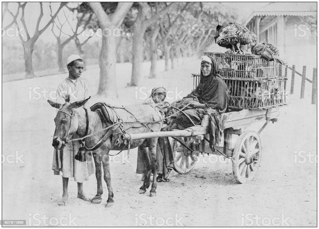 Antique photograph of World's famous sites: Merchant, Egypt stock photo