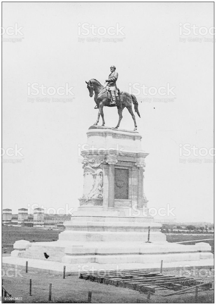Antique photograph of World's famous sites: Monument to General Lee, Richmond, Virginia stock photo