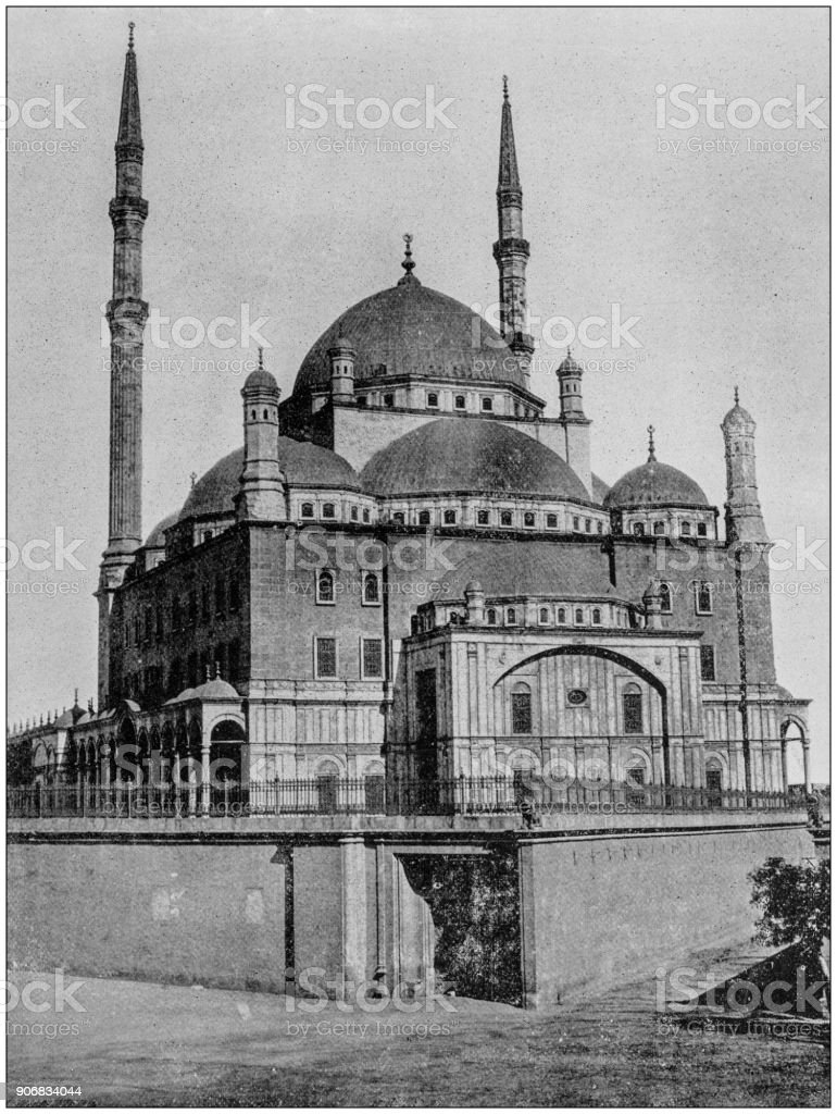 Antique photograph of World's famous sites: Mosque of Mohammed Ali, Cairo, Egypt stock photo