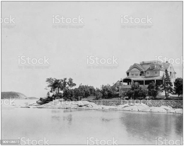 Antique photograph of World's famous sites: Mt Desert Club, Bar Harbor, Maine