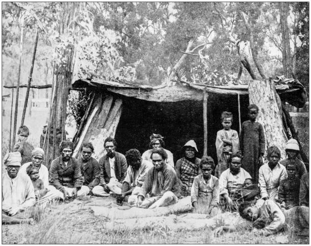 Antique photograph of World's famous sites: Natives of Queensland, Australia Antique photograph of World's famous sites: Natives of Queensland, Australia 20th century history stock pictures, royalty-free photos & images