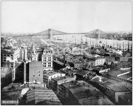 Antique photograph of World's famous sites: New York and Brooklyn Bridge