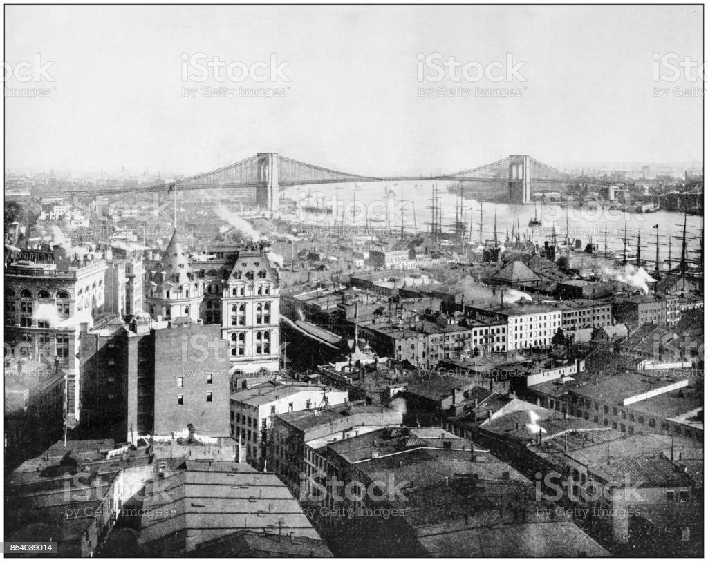 Antique photograph of World's famous sites: New York and Brooklyn Bridge stock photo