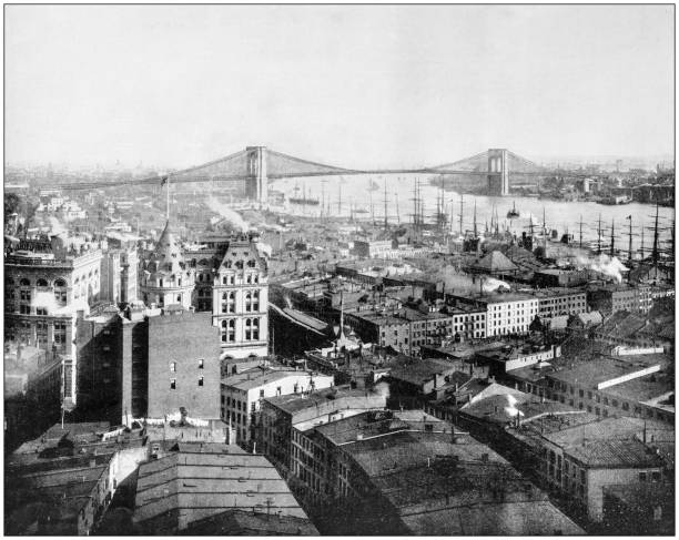 Antique photograph of World's famous sites: New York and Brooklyn Bridge Antique photograph of World's famous sites: New York and Brooklyn Bridge 19th century stock pictures, royalty-free photos & images