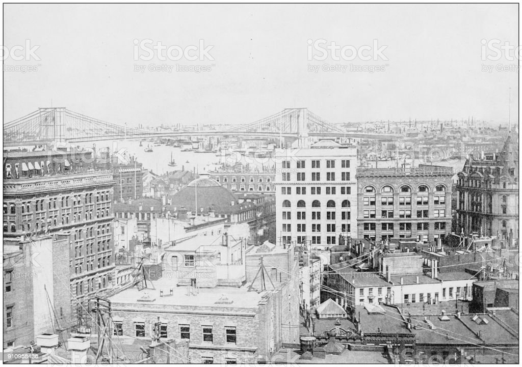 Antique photograph of World's famous sites: New York City, USA stock photo