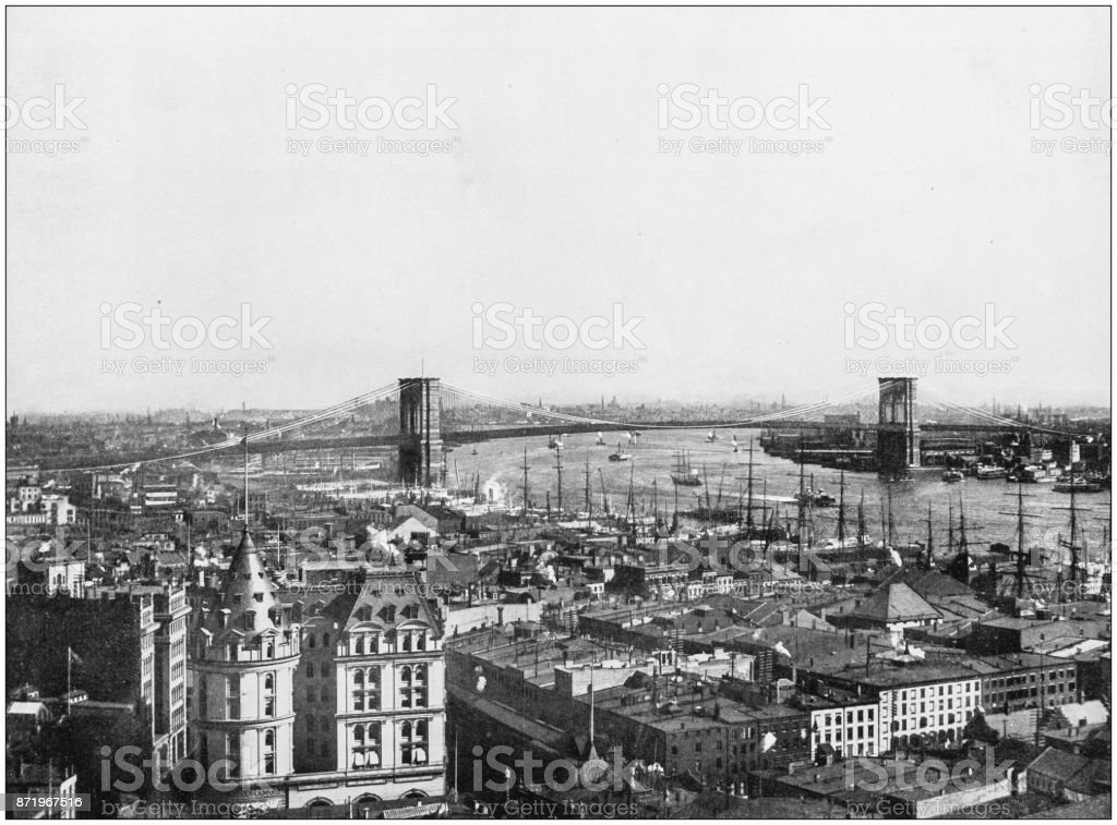 Antique photograph of World's famous sites: New York stock photo