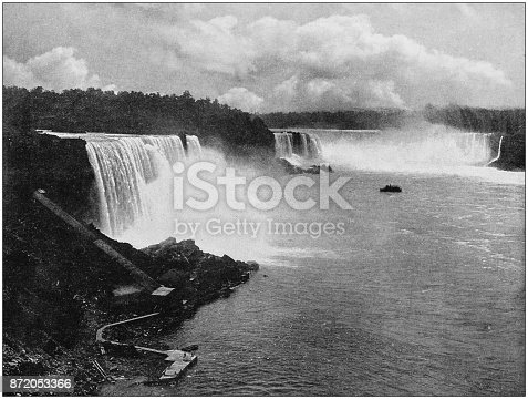Antique photograph of World's famous sites: Niagara falls