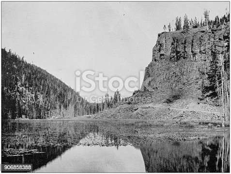 Antique photograph of World's famous sites: Obsidian Cliff, Yellowstone National Park