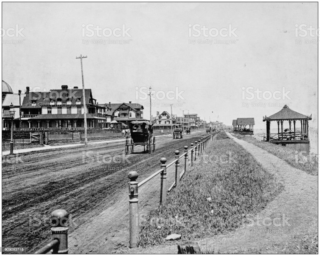 Antique photograph of World's famous sites: Ocean Avenue, Long Branch stock photo