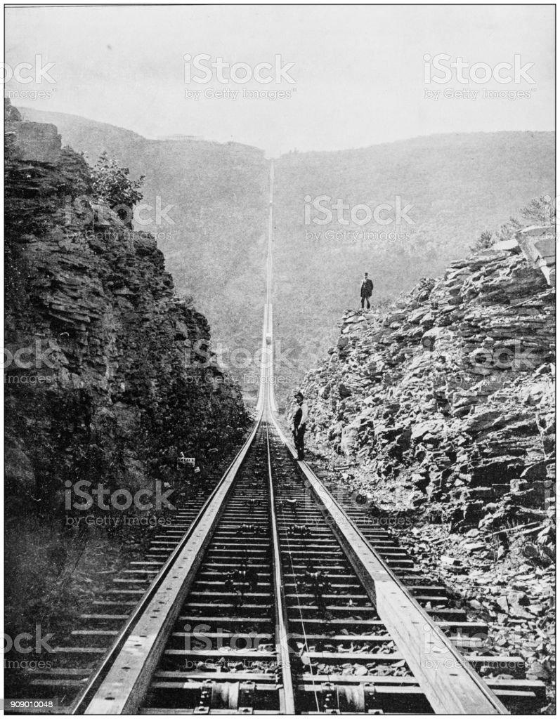 Antique photograph of World's famous sites: Otis rail road, Catskill mountains stock photo