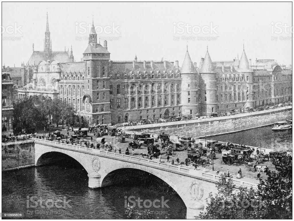 Antique photograph of World's famous sites: Palais de Justice, Paris stock photo